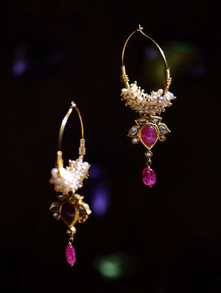 Ruby Polki Gold Earrings with Pearls