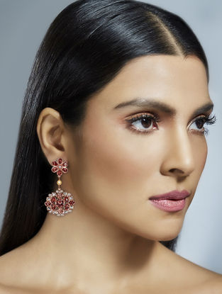 Confluence Crystals from Swarovski Suneet Varma Cascade Earrings with Floral Design