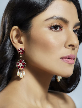 Confluence Crystals from Swarovski Suneet Varma Red Floret Earrings