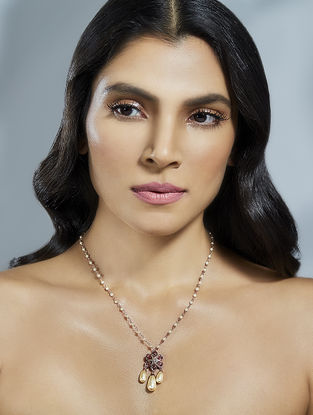 Confluence Crystals from Swarovski Suneet Varma Bloom Pink Necklace