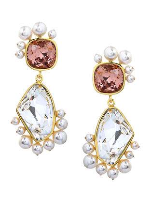 Confluence Crystals from Swarovski Isharya Desert Pearl Rose Libra Earrings