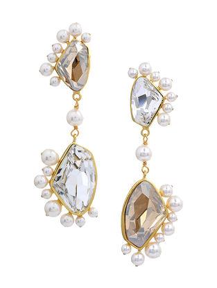 Confluence Crystals from Swarovski Isharya Desert Pearl Clear Libra Earrings