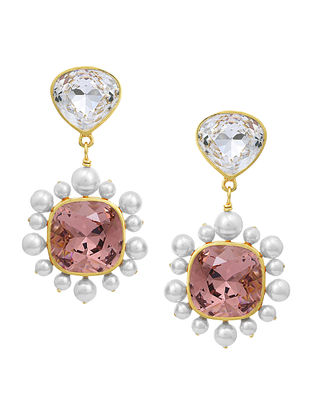 Confluence Crystals from Swarovski Isharya Desert Pearl Rose Drop Earrings