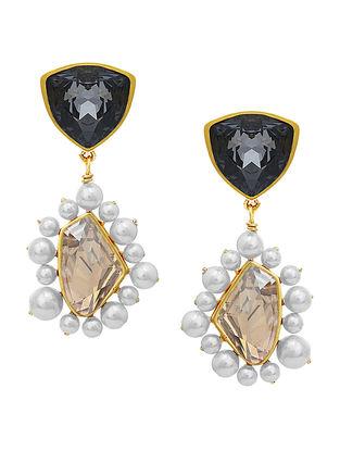 Confluence Crystals from Swarovski Isharya Desert Pearl Black Diamond Topaz Earrings