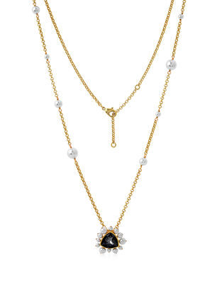 Confluence Crystals from Swarovski Isharya Desert Pearl Black Diamond Necklace