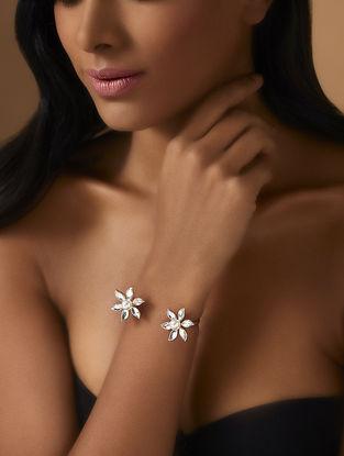 Confluence Crystals from Swarovski Isharya Desert Pearl Flower Open Cuff