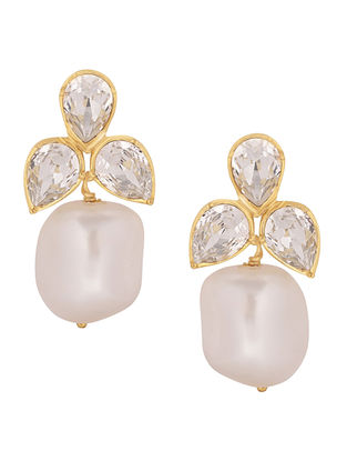 Confluence Crystals from Swarovski Isharya Pearl Cluster Champagne Earrings