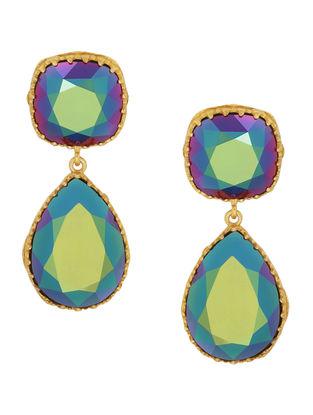 Confluence Crystals from Swarovski Eina Ahluwalia Persian Back Jaal Green Earrings