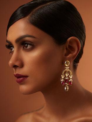 Confluence Crystals from Swarovski Tarun Tahiliani Tarakanna Heritage Maroon Earrings