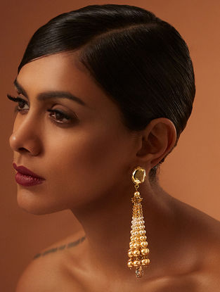 Confluence Crystals from Swarovski Tarun Tahiliani Tara Gold Tone Tassel Earrings