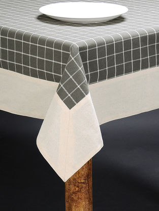 White-Grey Cotton Table Cloth (90in x 60in)