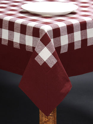 White-Maroon Cotton Table Cloth (90in x 60in)