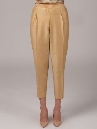 Beige Elasticated Waist Cotton Silk Pants