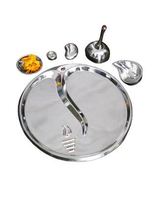 Ganesh Pooja Steel Thali (Set of 6) (Dia:23cm, H:2cm)