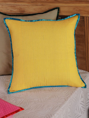 Hand Spun & Hand Woven Waves in Yellow Cushion Cover 19in x 19in