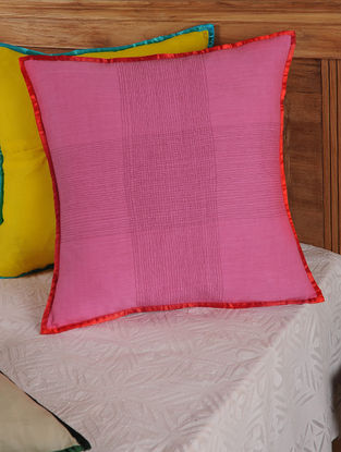 Hand Spun & Hand Woven Cross in Pink Cushion Cover 19in x 19in