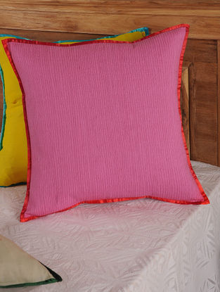 Hand Spun & Hand Woven Lines in Pink Cushion Cover 19in x 19in