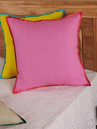 Hand Spun & Hand Woven Waves in Pink Cushion Cover 19in x 19in