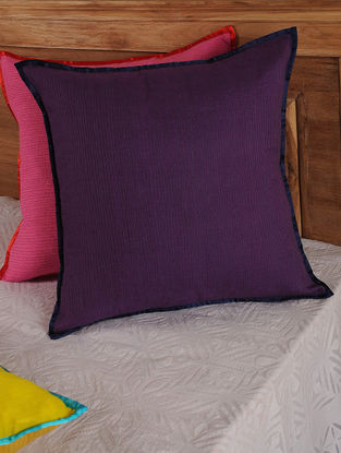 Hand Spun & Hand Woven Lines in Purple Cushion Cover 19.5in x 19.5in
