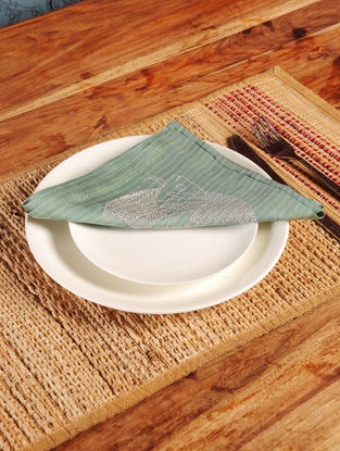 Fish Chikankari Embroidery in Green Napkin-Set of 6 16.5in x 16.5in