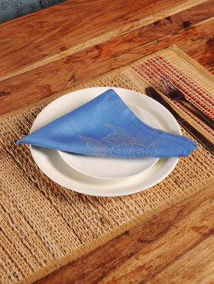 Fish Chikankari Embroidery in Blue Napkin-Set of 6 17in x 16in