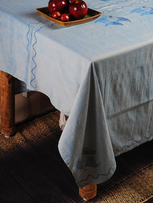 Fish Chikankari Embroidery in Pale Blue Table Cloth 110in x 69in