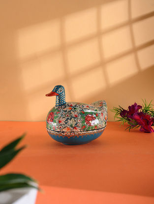 Multicolored Hand-painted Paper Mache Jewelry Box with Duck Design (L:4.5in, W:3in, H:3.6in)