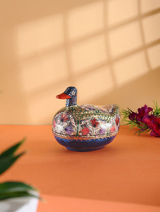 Multicolored Hand-painted Paper Mache Jewelry Box with Duck Design (L:4.5in, W:3.2in, H:4in)