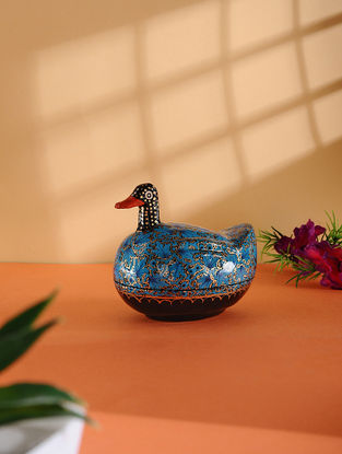 Multicolored Hand-painted Paper Mache Jewelry Box with Duck Design (L:4.5in, W:3in, H:4in)