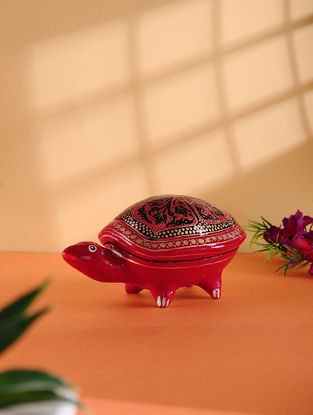 Multicolored Hand-painted Paper Mache Jewelry Box with Turtle Design (L:5.6in, W:3.5in, H:2.6in)
