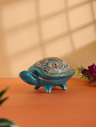 Multicolored Hand-painted Paper Mache Jewelry Box with Turtle Design (L:5.6in, W:3.5in, H:3in)