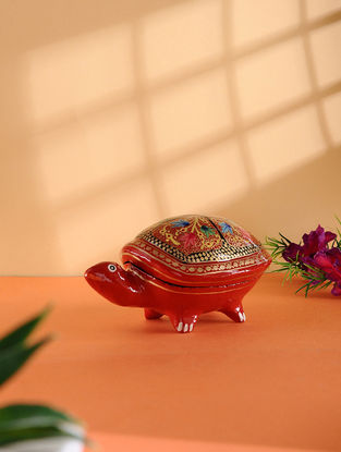 Multicolored Hand-painted Paper Mache Jewelry Box with Turtle Design (L:5.5in, W:3.5in, H:2.6in)