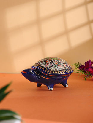 Multicolored Hand-painted Paper Mache Jewelry Box with Turtle Design (L:5.5in, W:3.3in, H:2.6in)