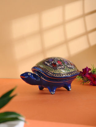 Multicolored Hand-painted Paper Mache Jewelry Box with Turtle Design (L:6.7in, W:4in, H:3.5in)