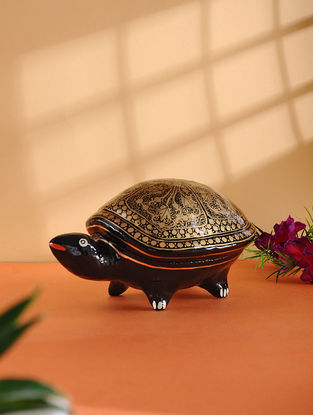 Multicolored Hand-painted Paper Mache Jewelry Box with Turtle Design (L:6.6in, W:4in, H:3.5in)