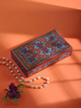 Multicolored Hand-painted Paper Mache Jewelry Box (L:7in, W:3.7in, H:1.2in)