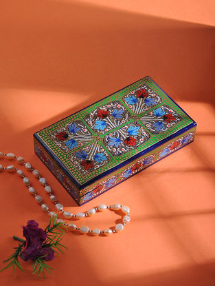 Multicolored Hand-painted Paper Mache Jewelry Box (L:7in, W:3.6in, H:1.2in)