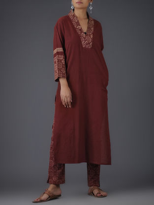 Maroon-Beige Block-printed V-neck Cotton Kurta