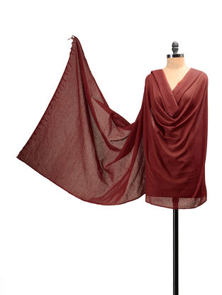 Maroon Handloom Cotton Natural Dyed Dupatta