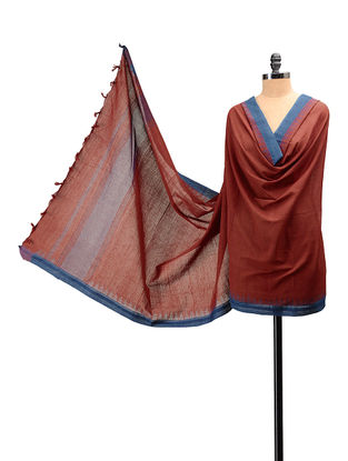 Maroon, Blue Handloom Cotton Natural Dyed Dupatta