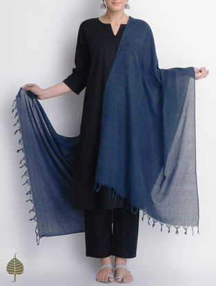 Indigo Natural Dyed Handloom Cotton Dupatta by Jaypore