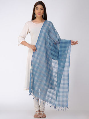 Indigo Missing Checks Mangalgiri Cotton Dupatta