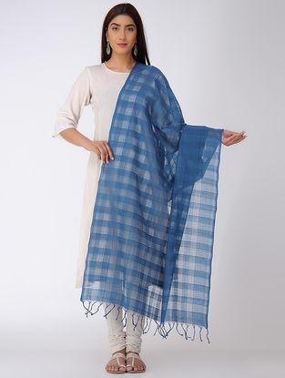 Indigo Missing Checks Mangalgiri Cotton Dupatta