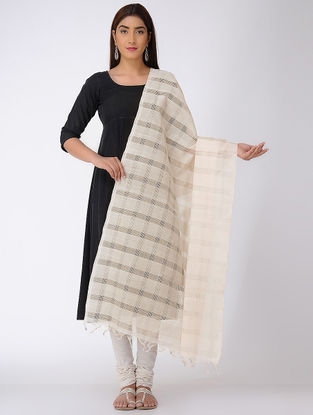 Ivory Missing Checks Mangalgiri Cotton Dupatta