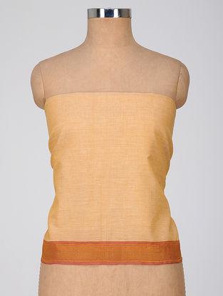 Beige-Orange Cotton Blouse Fabric with Zari Border