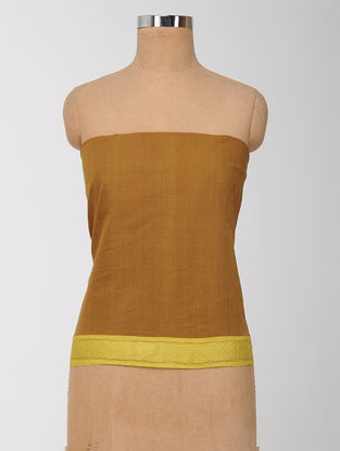 Brown-Yellow Cotton Blouse Fabric with Zari Border