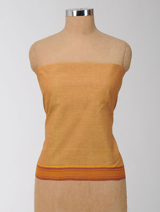 Orange Cotton Blouse Fabric with Woven Border