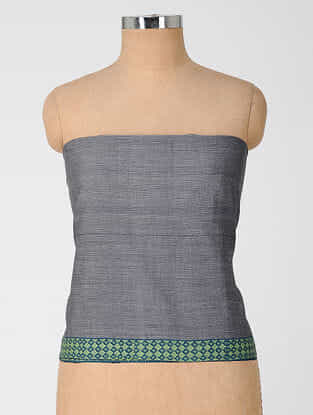 Grey Cotton Blouse Fabric With Woven Border