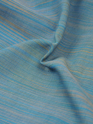 Blue-Brown Pinstriped Cotton Fabric