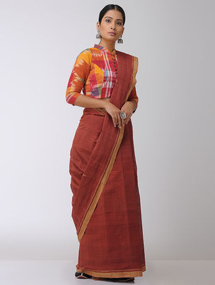 Red-Beige Natural-dyed Cotton Saree